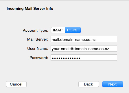 Set up an email account in Apple Mail El Capitan - 05