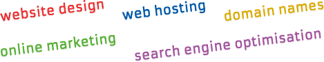 website design, web hosting, domain names, online marketing, search engine services