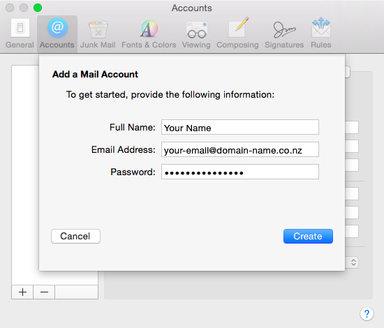 Set up an email account in Apple Mail El Capitan - 03