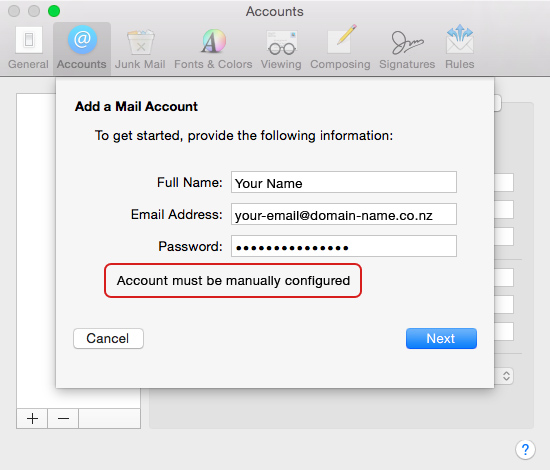 Set up an email account in Apple Mail El Capitan - 04